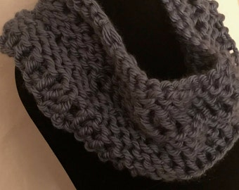 hand made cowl/chunky cowl/denim blue/cowl