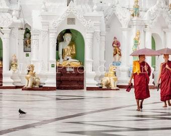 Two Buddhist Monks, Buddhism, Myanmar Photography, Travel Photography, Monk Photography, Fine Art Photography, Monk Prints, Myanmar Wall Art