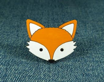 Fox face pin. Wooden fox brooch. Fox Gift. Cute fox pin badges. Fox Jewellery. Fox lover gift. Animal Pins. Woodland Animal.
