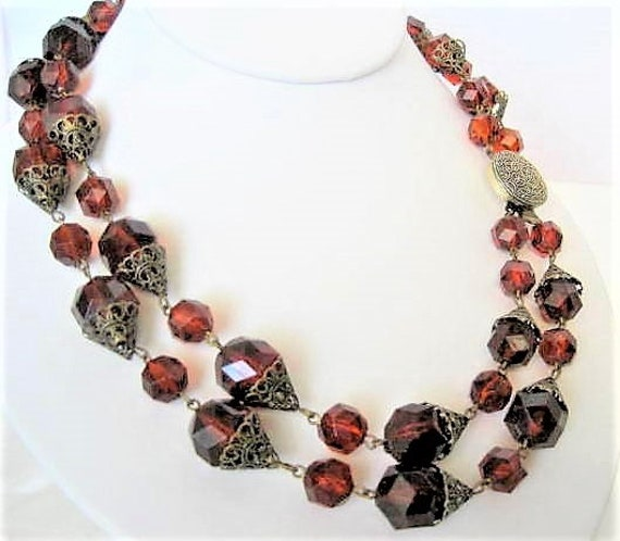 Brown Lucite Necklace, Root Beer Color,  2 strands, Western Germany Necklace, Mid Century