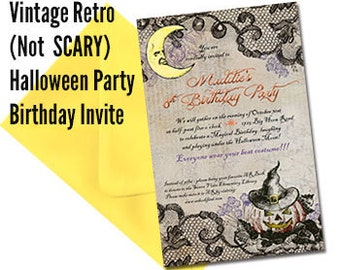 Qty. 25 Vintage Halloween Party or Halloween Birthday Party Invitations with Colored Envelopes