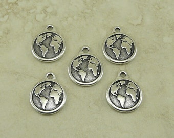 5 TierraCast Earth Charms > Globe Global Earth Day Peace Humanist Humanity - Silver Plated Lead Free Pewter - I ship Internationally 2409