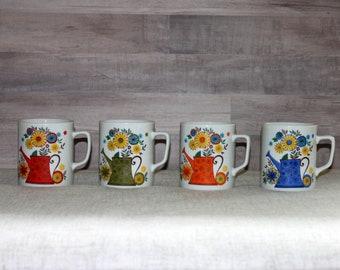 Mugs rétros vintages, lot de 4 Mugs assortis avec des fleurs, Vintage et arrosoirs lumineux couleur Mugs, ensemble de 4 tasses à café rétros - V342