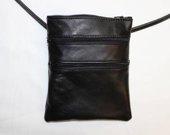 Genuine S black leather shoulder bag