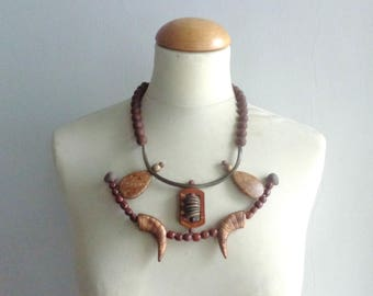Brown necklace, brown statement necklace, brown rubber necklace, geometric bib necklace