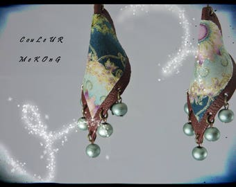 SOLD - Earrings - color MEKONG - Burgundy leather / Garnet - predominantly teal fabric - beads at the