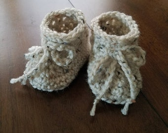 Crocheted Baby Booties | Knit Baby Booties | New Baby Gift | Heirloom Crochet | Vintage Baby Gift | Baby Shower Gift | Gender Neutral Baby