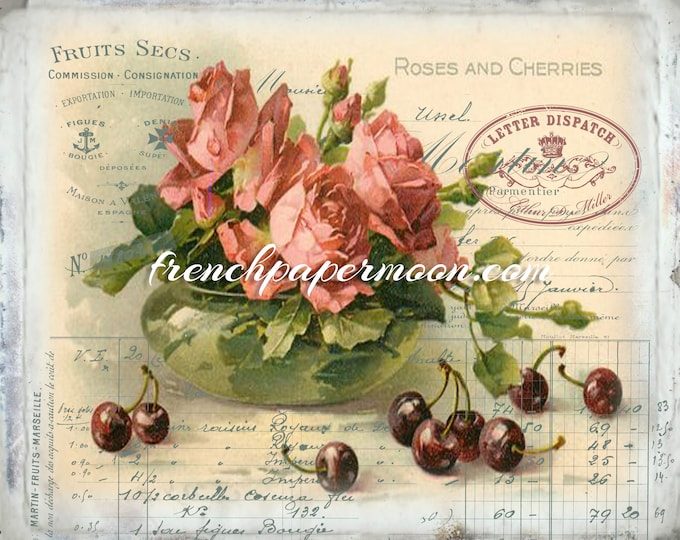 Shabby Victorian Digital Roses and Cherries, French Collage Sheet, Decoupage, Pillow Image, Fabric Transfer, Large Image, Instant Download