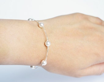 Pearl Station Bracelet, Sterling Silver, 14KT Gold Filled, Dainty Pearl Bracelet, Bridesmaid Jewelry, Bridesmaid Gift
