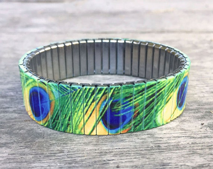 Peacock feathers bracelet, Stainless Steel, Repurpose Watch Band, Stretch Bracelet, Wrist Band, Sublimation, gift for friends