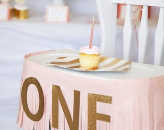 ON SALE ONE Birthday banner, Fringe Highchair banner