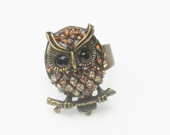 Vintage Brown Toned Rhinestone Antiqued Gold Tone Owl Bird 1970's Costume Jewelry Statement Ring Size 8 Gift For Her on Etsy