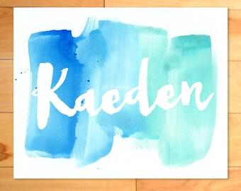 Watercolor Art, Personalized Art, Kids Wall Art, Calligraphy, Script, Boy, Nursery Art, Name, Birth Annoucnement, baby gift, custom print