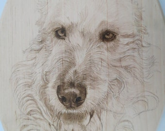 Reserve Listing 2 Irish Wolfhound Pet Portrait Wood Burn Solid Maple Plaques Made to Order 8 x 12 inch by Shannon Ivins Pigatopia
