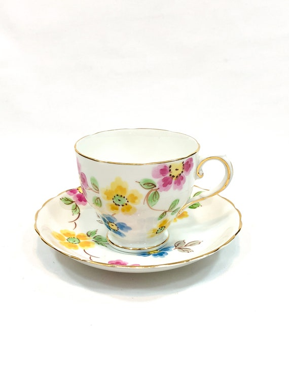 Tuscan Floral Tea Cup Saucer, Bright Pink Yellow Blue Flowers, English Bone China Teacup, Shabby Chic Cottage Vintage Tea Cup