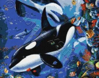Whales cross stitch kit