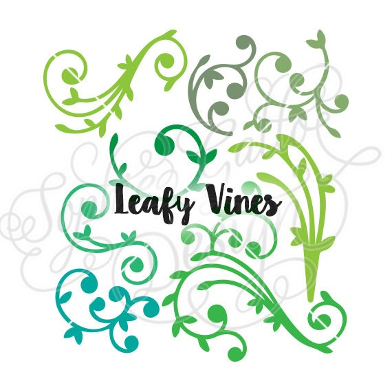 Leafy Vines Flourish Designs Svg Dxf Digital Download Files