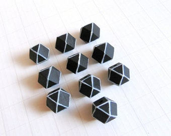 Geometric Black Wood Beads 20mm Big Hole, Geometric Jewelry