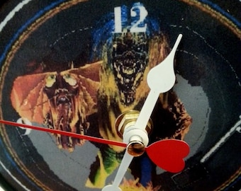 Iron Maiden - Eddie - Number Of The Beast -5 inch round DESKTOP clock / made from recycled audio cd Priority Mail