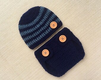 Crochet baby outfit Boy newborn photo outfit Newborn diaper cover and hat Baby boy outfit set Newborn boy photography prop New born outfits