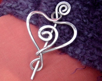 Spiral Heart Shawl Pin, Heart Pin, Heart Brooch for Sweater, Crochet Scarf Pin, Wrap Fastener,  Knitter Gift for Women Aluminum