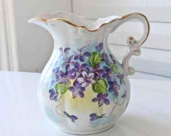 Lovely Vintage Norcrest Floral Pitcher with Gold Trim-Foil Sticker-Purple,Blue, and Yellow Flowers