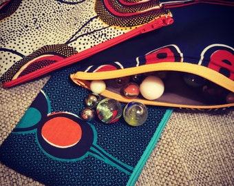 African wax zipper pouch