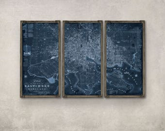 Blueprint map etsy baltimore metal blueprint map on barnwood frame free shipping malvernweather Image collections
