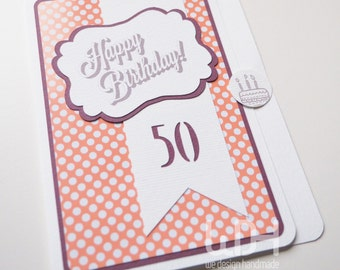 Greetings Card_50_Vintage_Birthday Card_Handmade in ITALY_Best Wishes Card