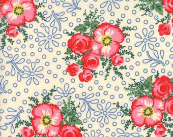 Reproduction Floral Ivory - MERRY GO ROUND by American Jane for Moda Fabrics - Floral  21720 23