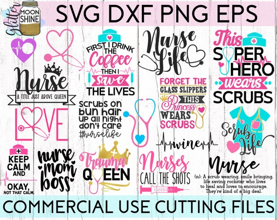 HUGE Nurse Bundle Of 25 svg eps dxf png Files for Cutting Machines ...