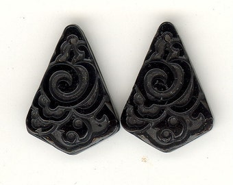 2 Vintage Art Deco Glass Pendants ~ Antique Czech JET Etched Carved Floral 20x14mm P122
