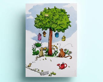 Poster A4 - Cats and tree - Illustration and decoration