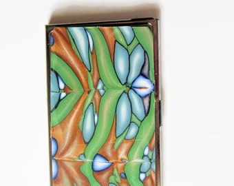 Business Card Case, Credit Card Case, Metal Card Case, Green and Gold design with Blue Accents