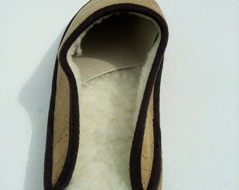 Handmade cork slipper,natural portuguese cork.