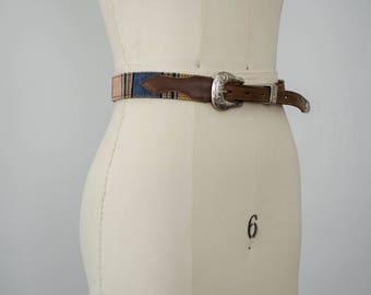 vintage leather belt / southwestern leather and tapestry belt / medium