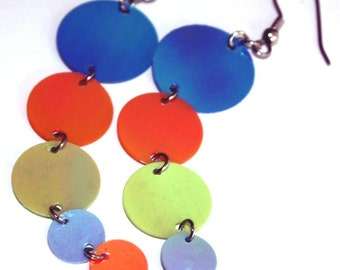 Colorful Sequin Earrings Iridescent Circle Drops Dangle Plastic Sequins