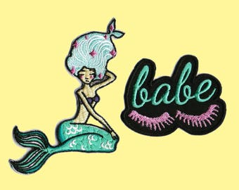 Mermaid Patches Babe Patch Iron On Embroidered Patches