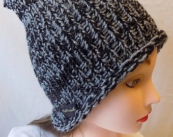 gorgeous black and silver sparkle ladies winter hat