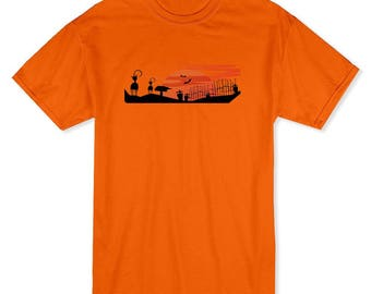 Halloween Graveyard And Cats Men's Safety Orange T-shirt