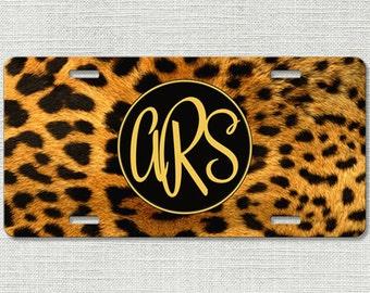 Cheetah License Plate, Monogram License Plate, Personalized License Plate, Monogram Car Tag, Cheetah Leopard Animal Print 9218