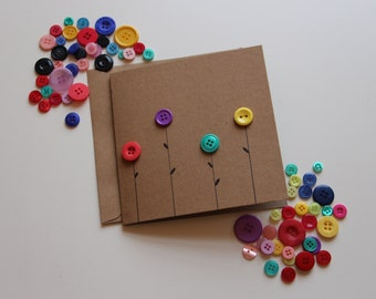 Handmade flower button greeting card for any occasion including birthdays/mothers day/thank you