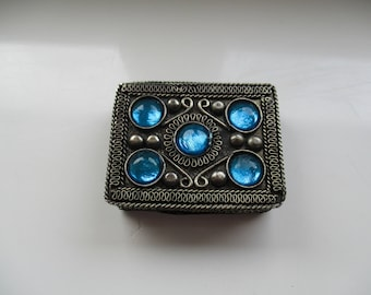 Silver Tone and Copper, Jewelled and Velvet Lined, Trinket Box
