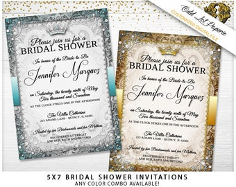 Fairytale Bridal Shower Invitation Royal Wedding Bridal Shower Party Printable Bridal Shower Printable Wedding Ornate Unique Invitation DIY