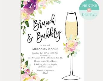 Brunch and Bubbly Bridal Shower Invitation - Mother's Day Brunch Invitation - Baby Shower - Birthday Brunch - Printable Invitation - LR2010