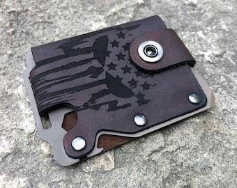 Special Edition-Kodiak Hero minimalist wallet (HERO Bearskin-Dark Earth metal). Men's custom leather wallet. Father's Day sale!