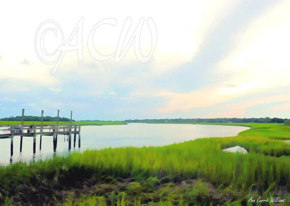 A pier on the River off Bowens Island South Carolina (canvas)