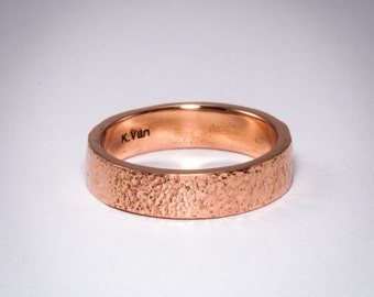 Copper Stack Ring - Copper Textured Ring - Stacking Ring - Handmade Copper Ring - Copper Stacking Ring - Made to Size
