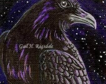 ACEO Crow Corvid RAVEN 3 Ltd Ed Print Mini Art Card by Gail Ragsdale