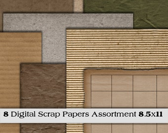Digital Papers. Scrap Paper Assortment. Set of 8. 8.5x11. Instant Download. Digital Scrapbooking. Personal -Limited Commercial Use.